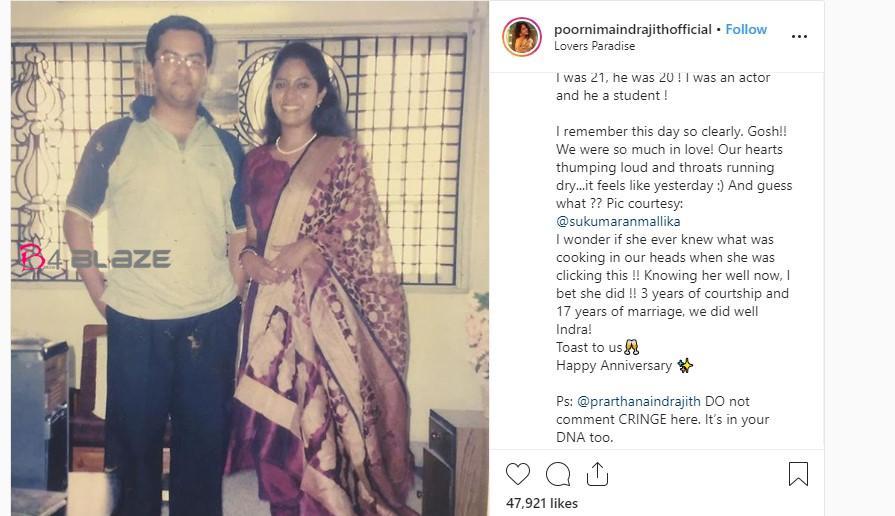 Poornima Indrajith's Wedding Anniversary note