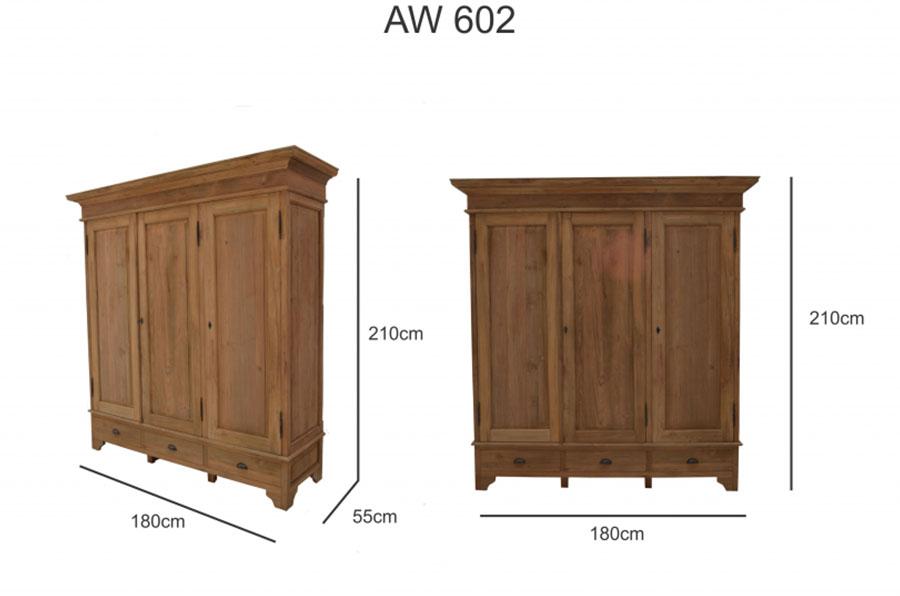 AW-602 - Garderobekast - Teak Meubelen - Baan Wonen