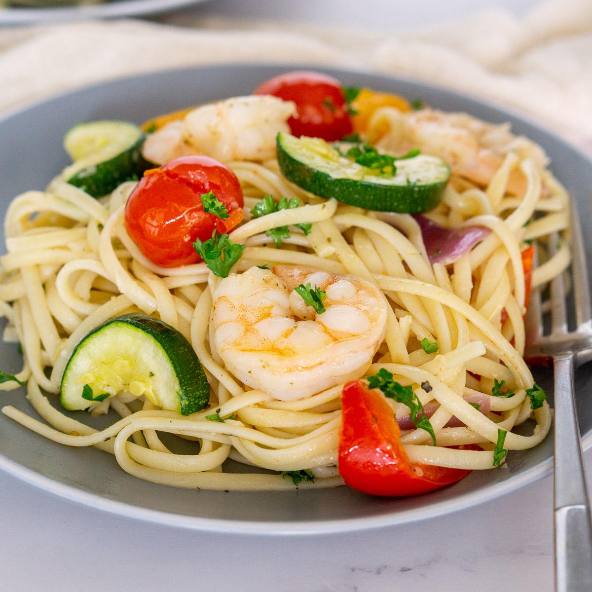 Sheet Pan Lemon Garlic Shrimp and Vegetable Linguine