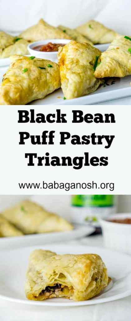 Black Bean Puff Pastry Triangles are the perfect after-school snack! From http://www.babaganosh.org