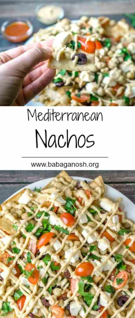 These Mediterranean Nachos are a must-try! All the delicious flavors of the Mediterranean in a delicious platter with heart-healthy chickpeas, feta cheese, fresh veggies and herbs, all topped with a yummy hummus sauce. From www.babaganosh.org