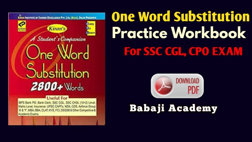 One Word Substitution practice book