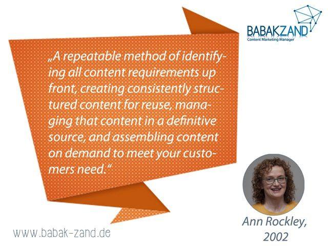 Zitat von Ann Rockley zum Thema Content-Strategie
