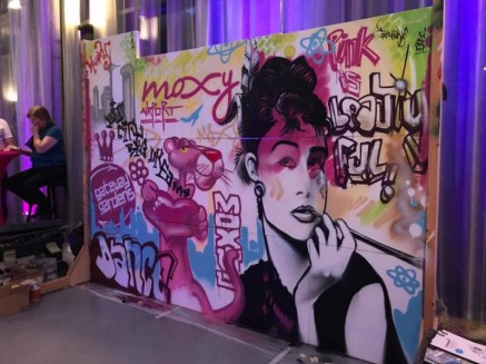 Live urban art spray event at Grand Opening Party Moxy Airport Frankfurt feat. DJ Force, 2017, spraycan on framed canvas