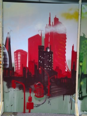 Skyline red, 200 x 300 cm, 2013, private property