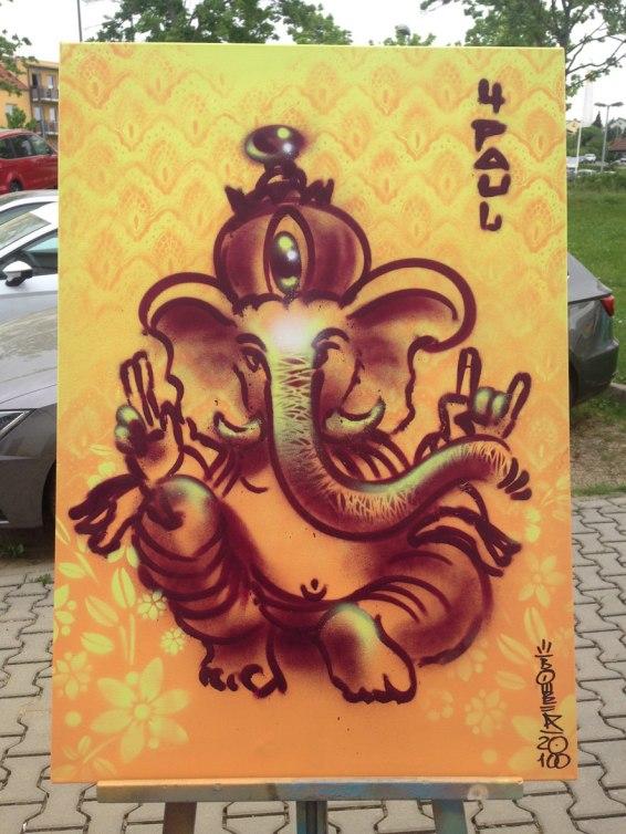 Ganesha, 60 x 80 cm, 2018, Spraycan on canvas