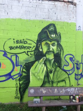 """Quick fresh wall spraypainting pieces and character by Bomber from 2017 with a dedication / tribute to Ian Fraser """"Lemmy"""" Kilmister of Motörhead, speaking »I said … BOMBER!«"""