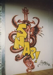 Snap logo for worldtour, airbrush on wood, 1992