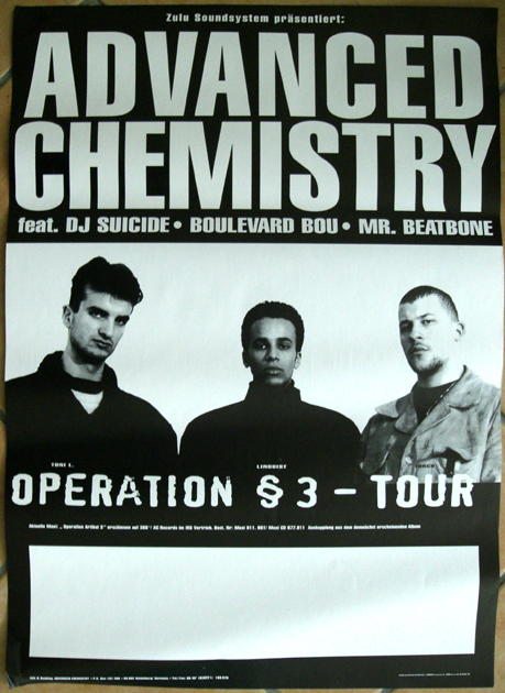 Advanced Chemistry - Operation § 3 Tour DIN A1 Poster artwork 1994
