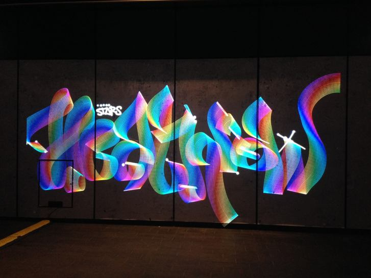 Heathrow Style Winter Lights Luma Paint Light Graffiti @ canary wharf, London 2018
