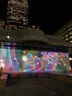 2017 Style Luma Paint Public Light Graffiti as Lightpainting, London Winter Lights, Canary Wharf, 2017