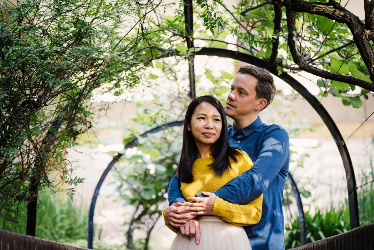 Engaged Couple embrace Barbican Estate