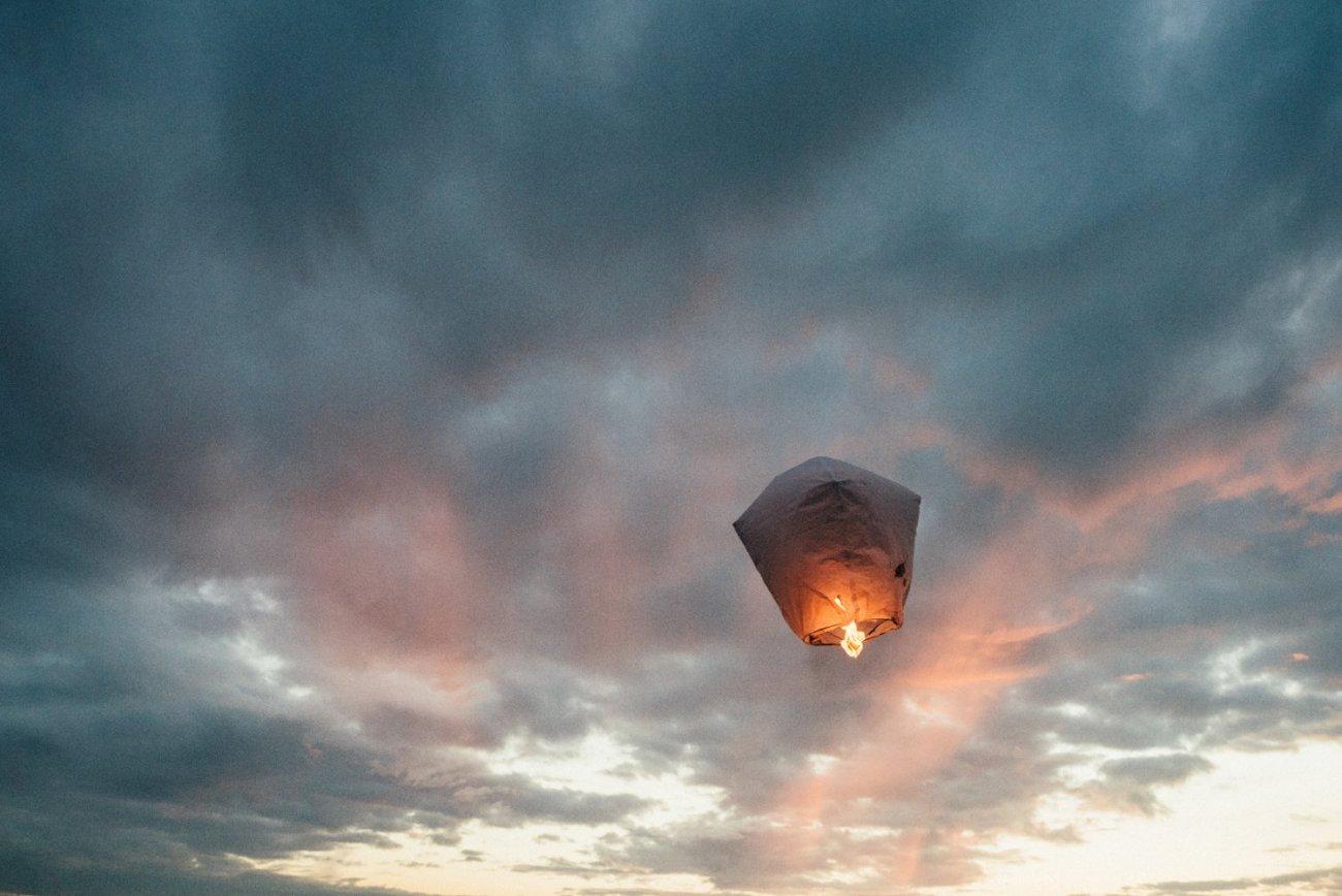 Lantern flying Whitstable wedding