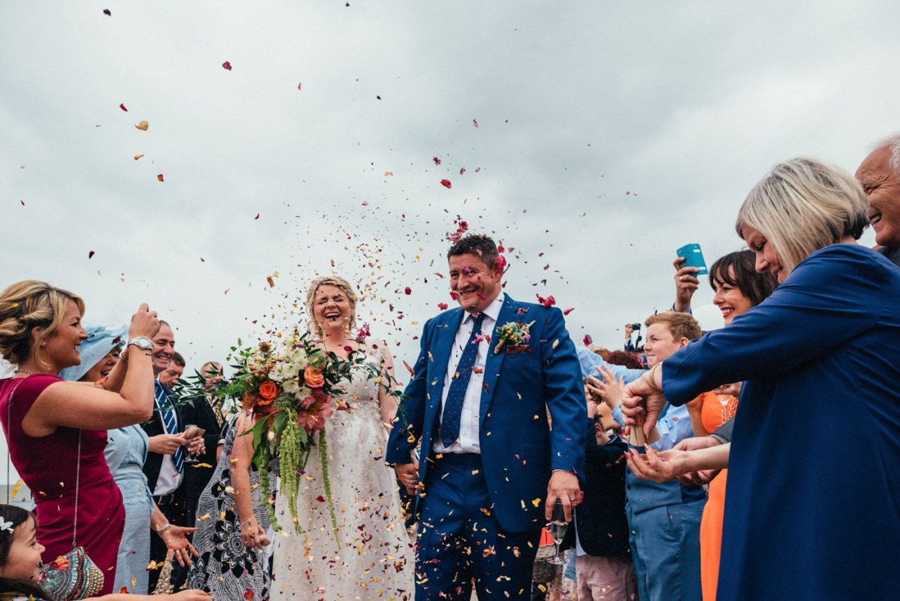 Whitstable wedding confetti shower BABB
