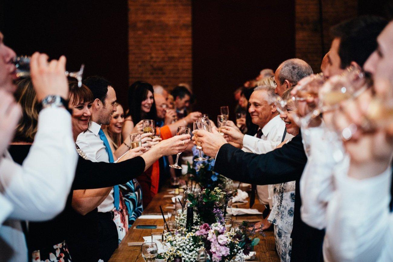 Champagne toast Shoreditch wedding