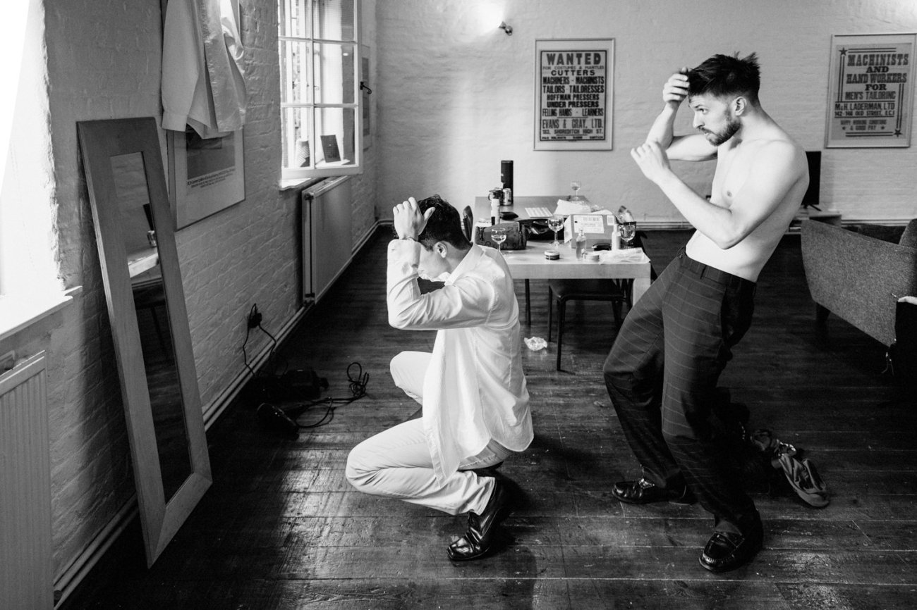 Groom wedding prep Shoreditch
