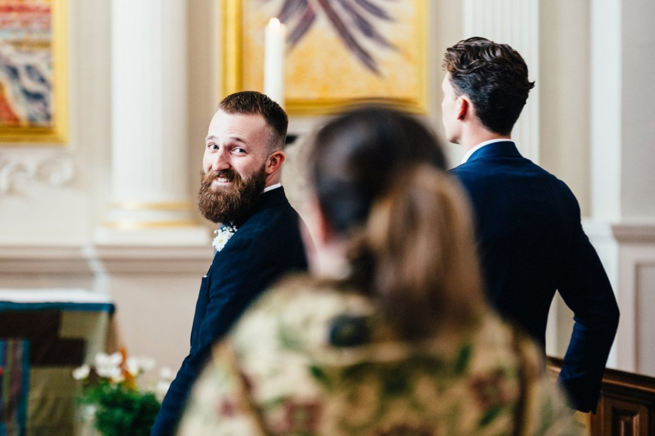 Groom & best man wait London Wedding
