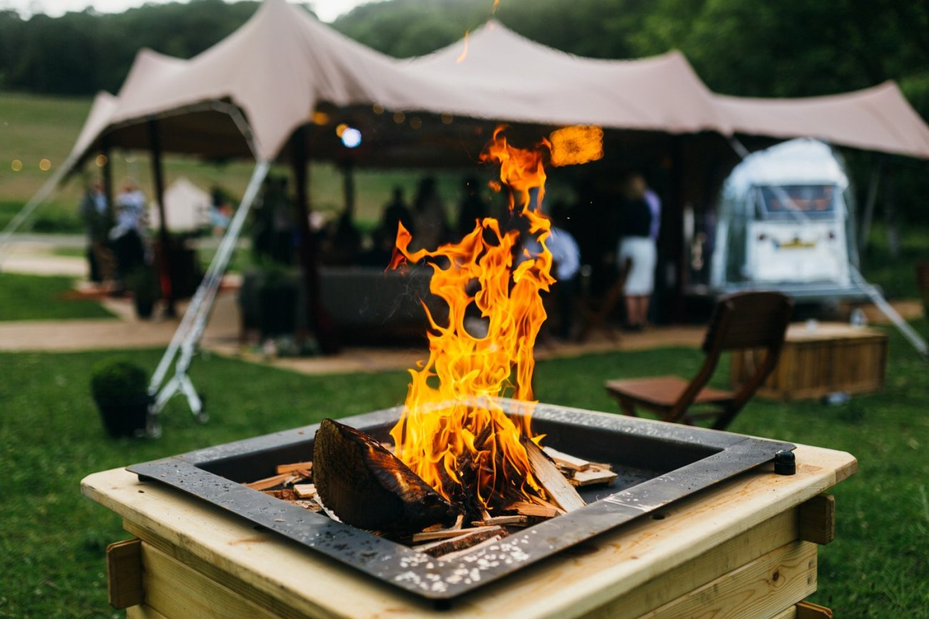 Outdoor fire pit Lake Windemere wedding
