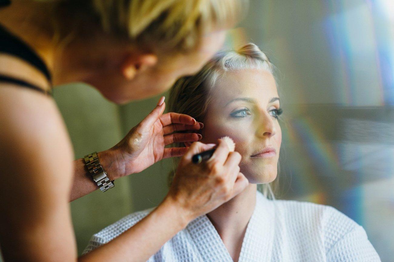 Bride receiving pre-wedding makeover
