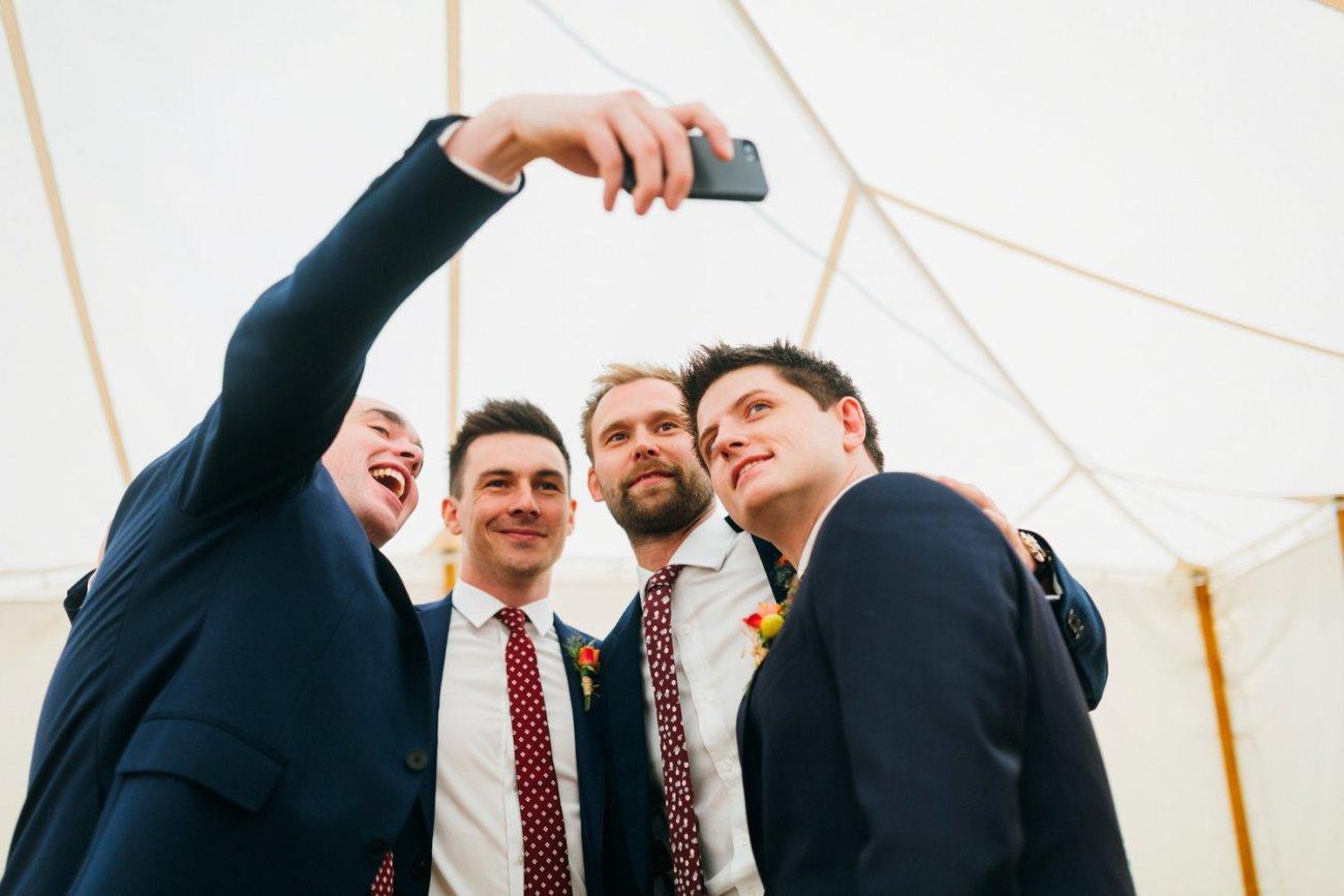 Groom and ushers selfie BABB photo