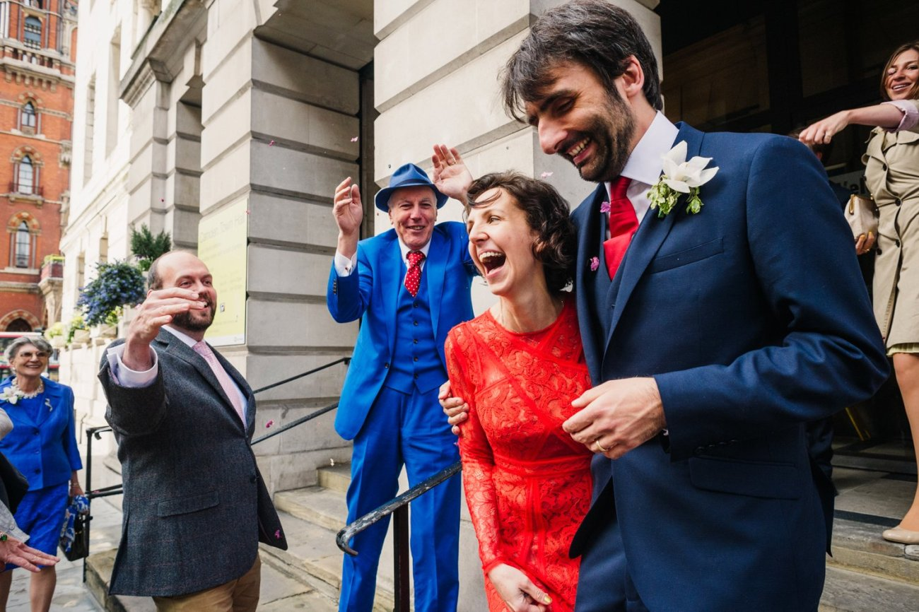 A bride in red Kings Cross Wedding Photography