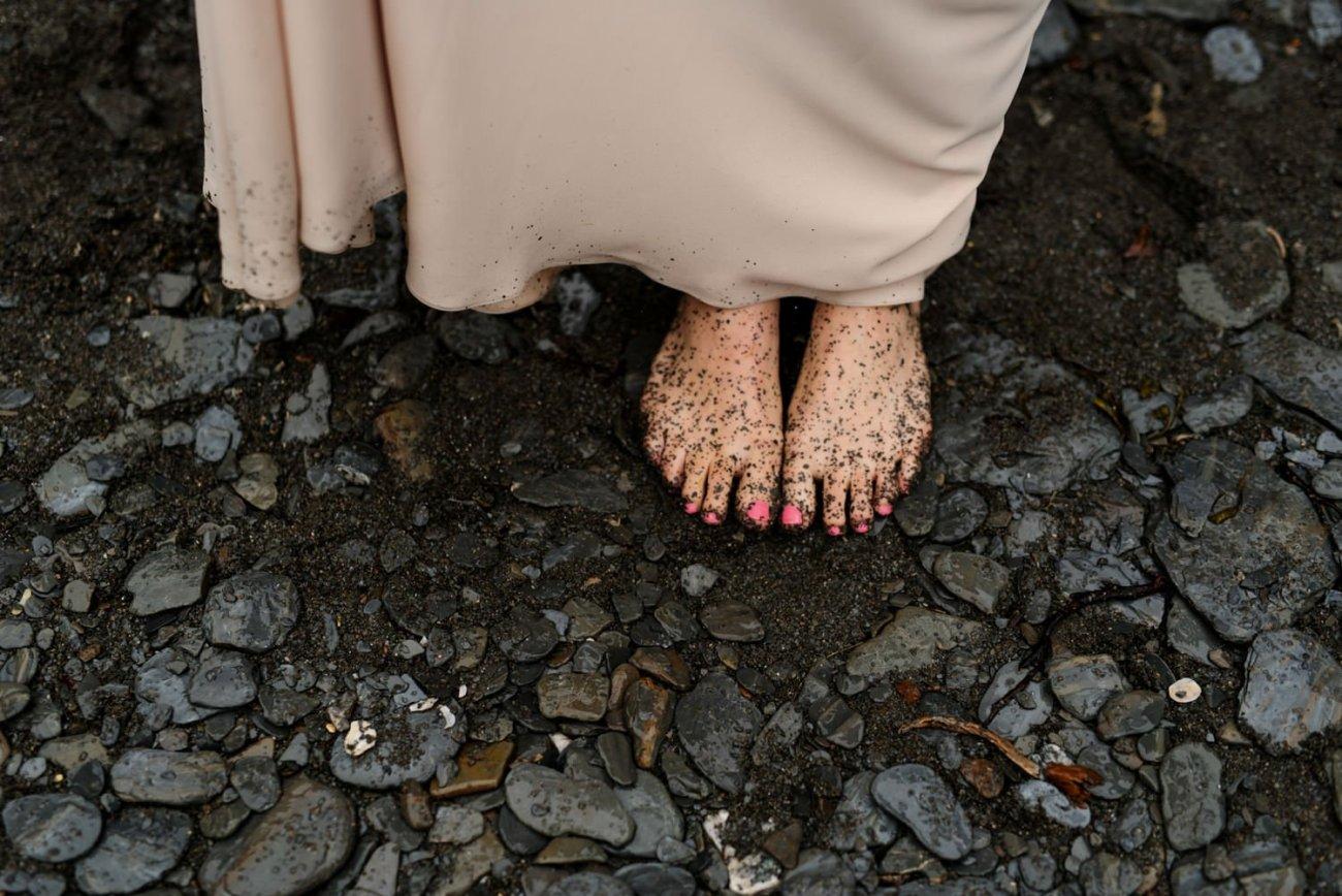 Rainy muddy bridal feet Tunnels beach Devon wedding