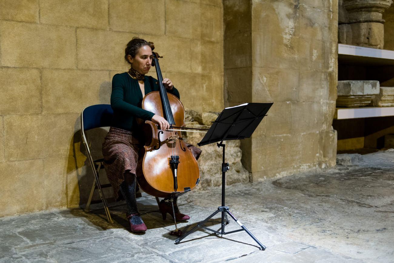 Cellist plays at Roman Baths wedding Somerset