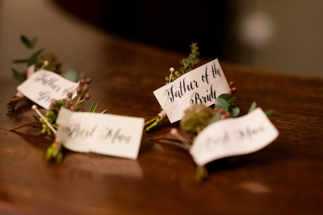 Quirky name badges for wedding party Bath Somerset