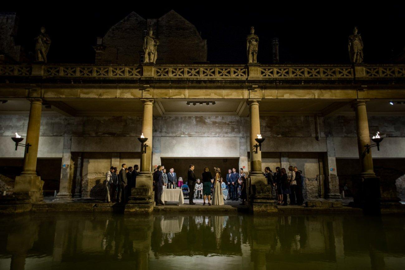 Alternative wedding photography at Roman Baths Somerset