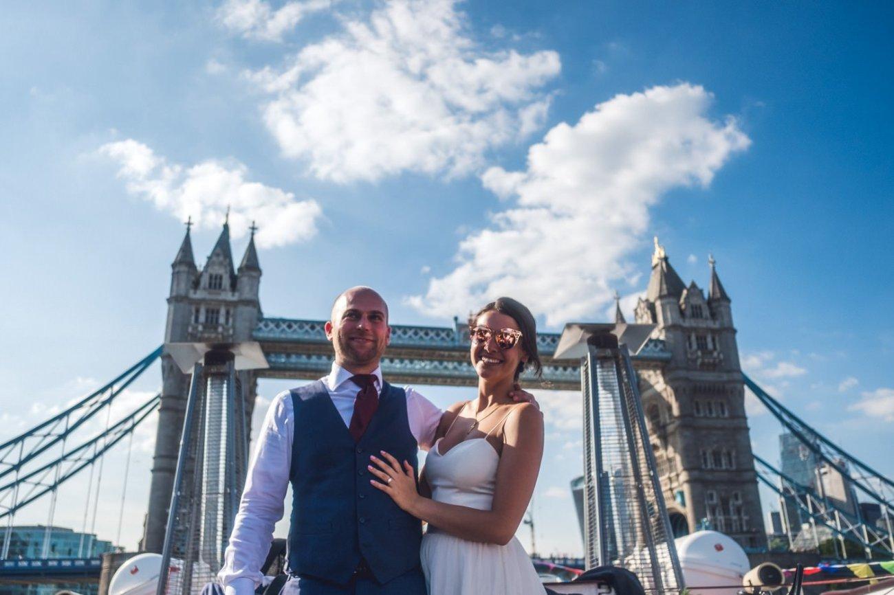 Thames boat ride Trinity Buoy Wharf wedding