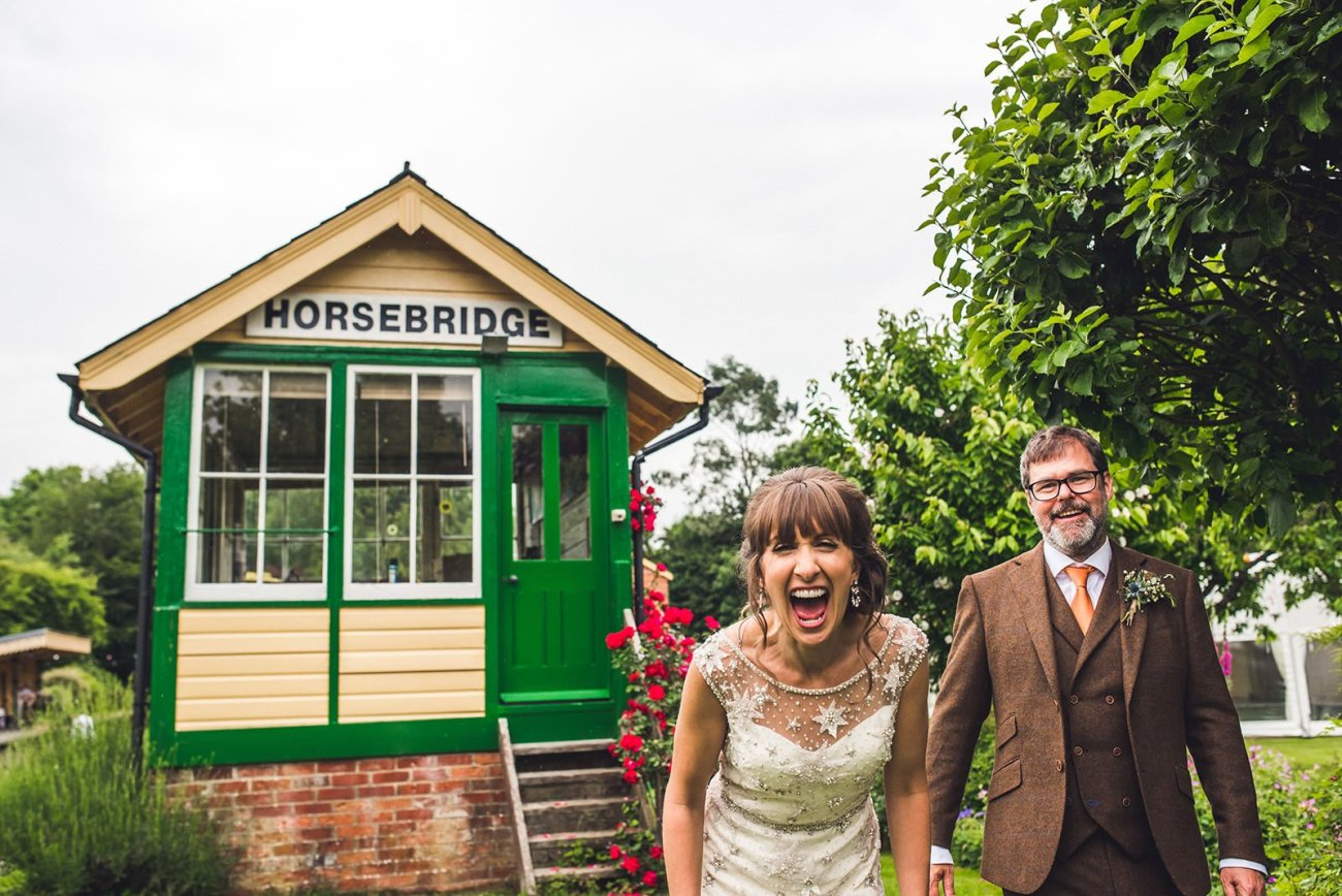 Wedding photography Horsebridge Station bride and groom