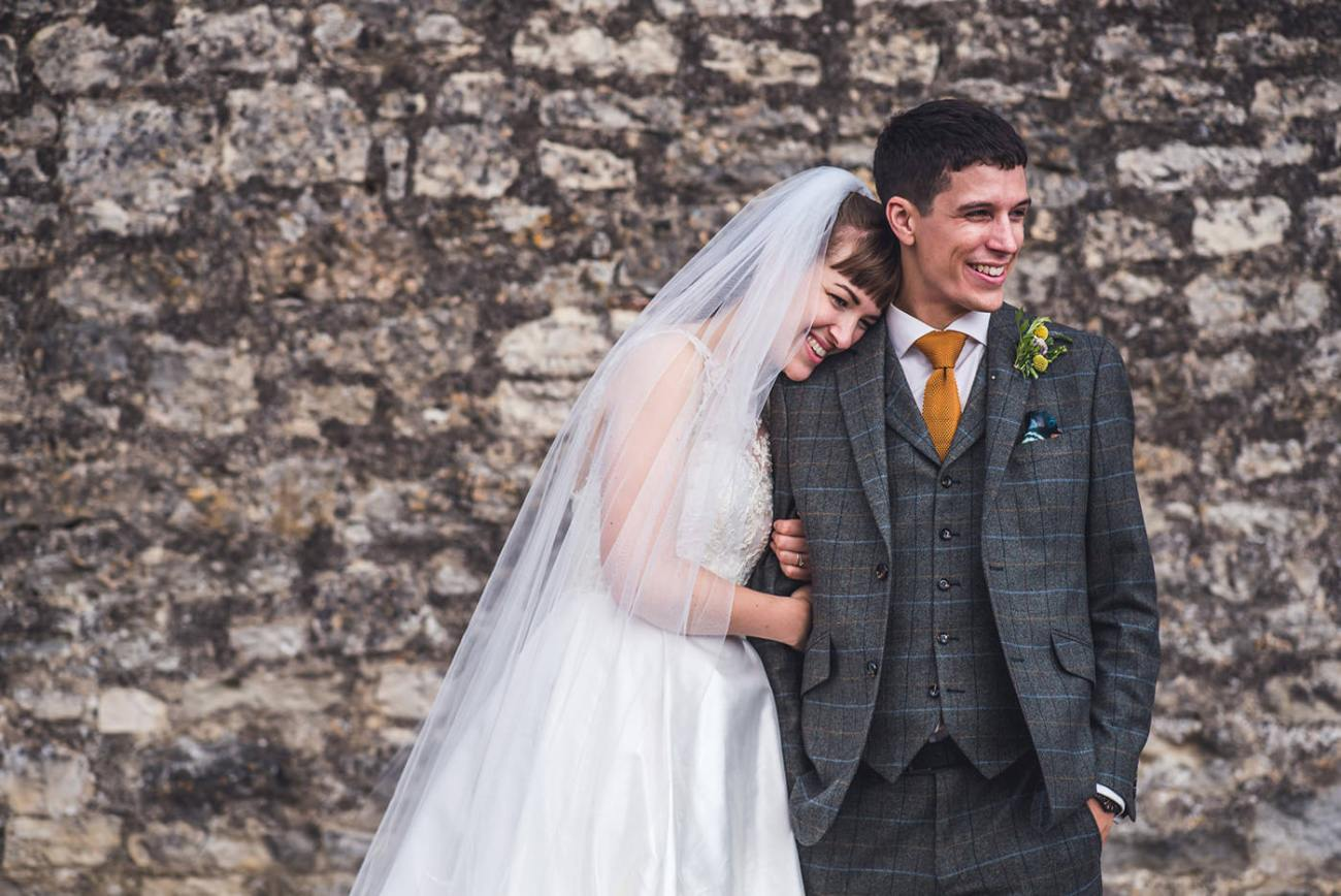 editorial style image of bridal couple