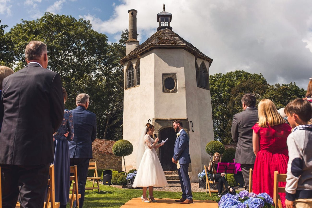 Outdoor wedding ceremony at Homme House