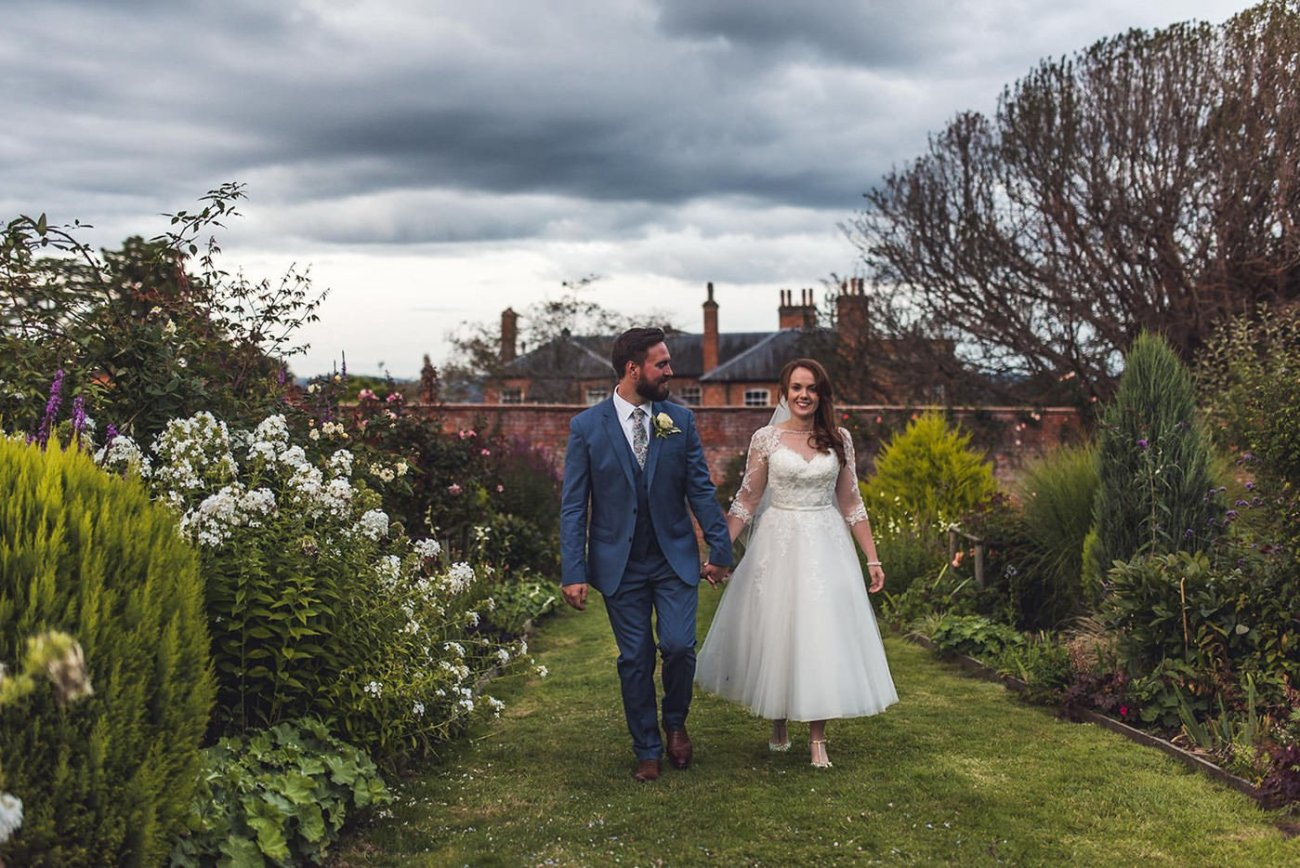Homme House Wedding Photography portrait of couple in garden
