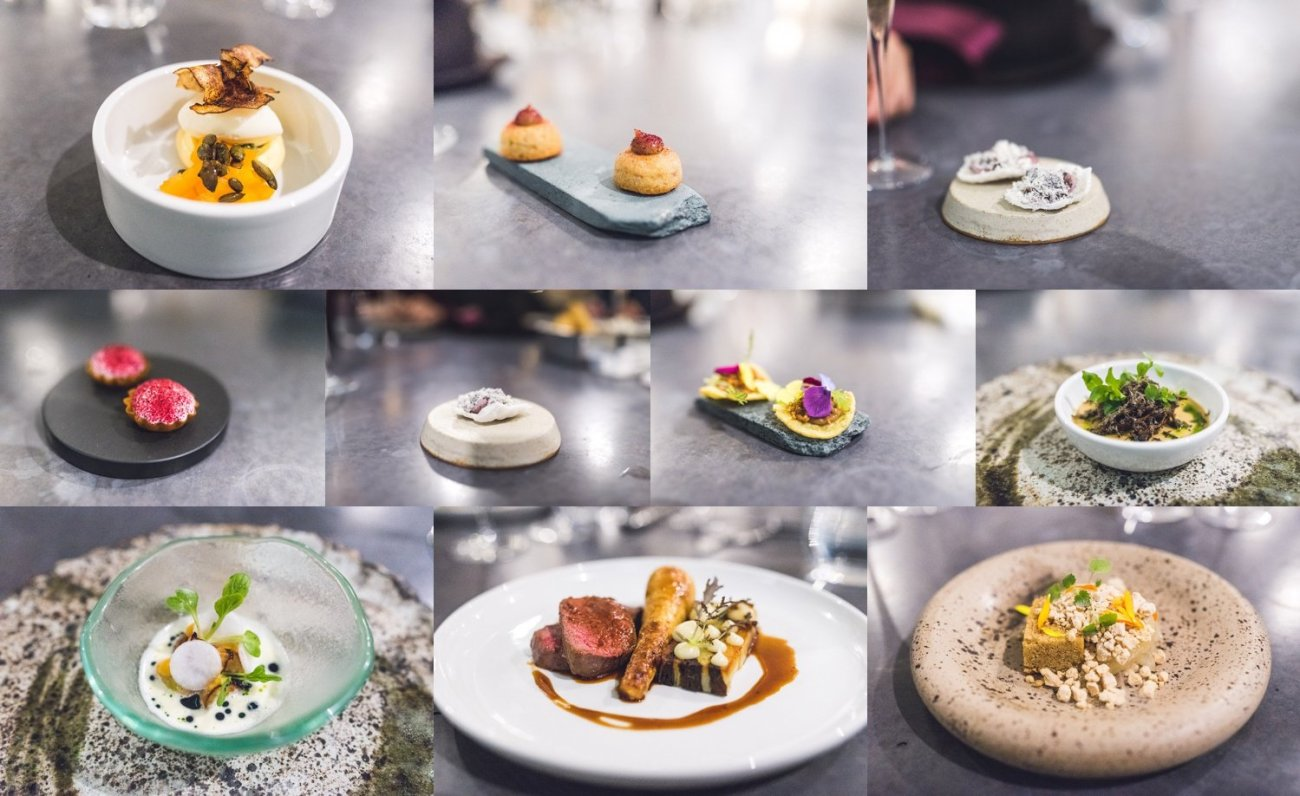 A montage of dishes from Aulis London