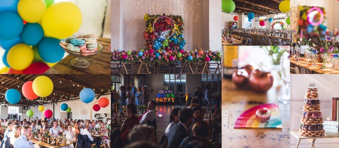 Colourful rainbow decor Trinity Buoy Wharf wedding