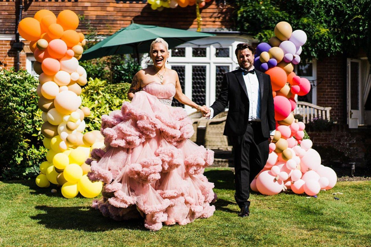 Back garden festival wedding pink wedding dress