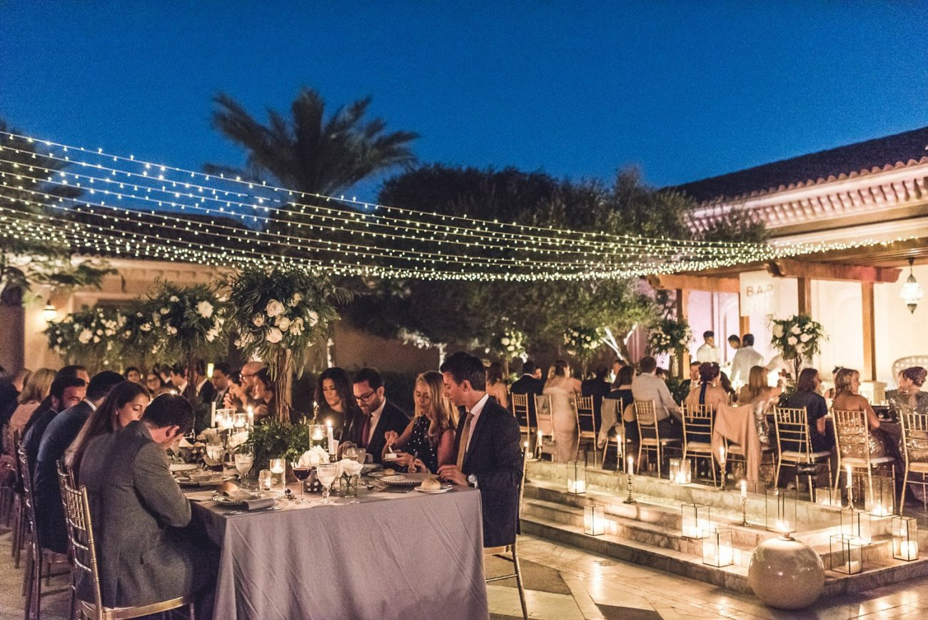 Outdoor dining One and Only The Palm wedding Dubai