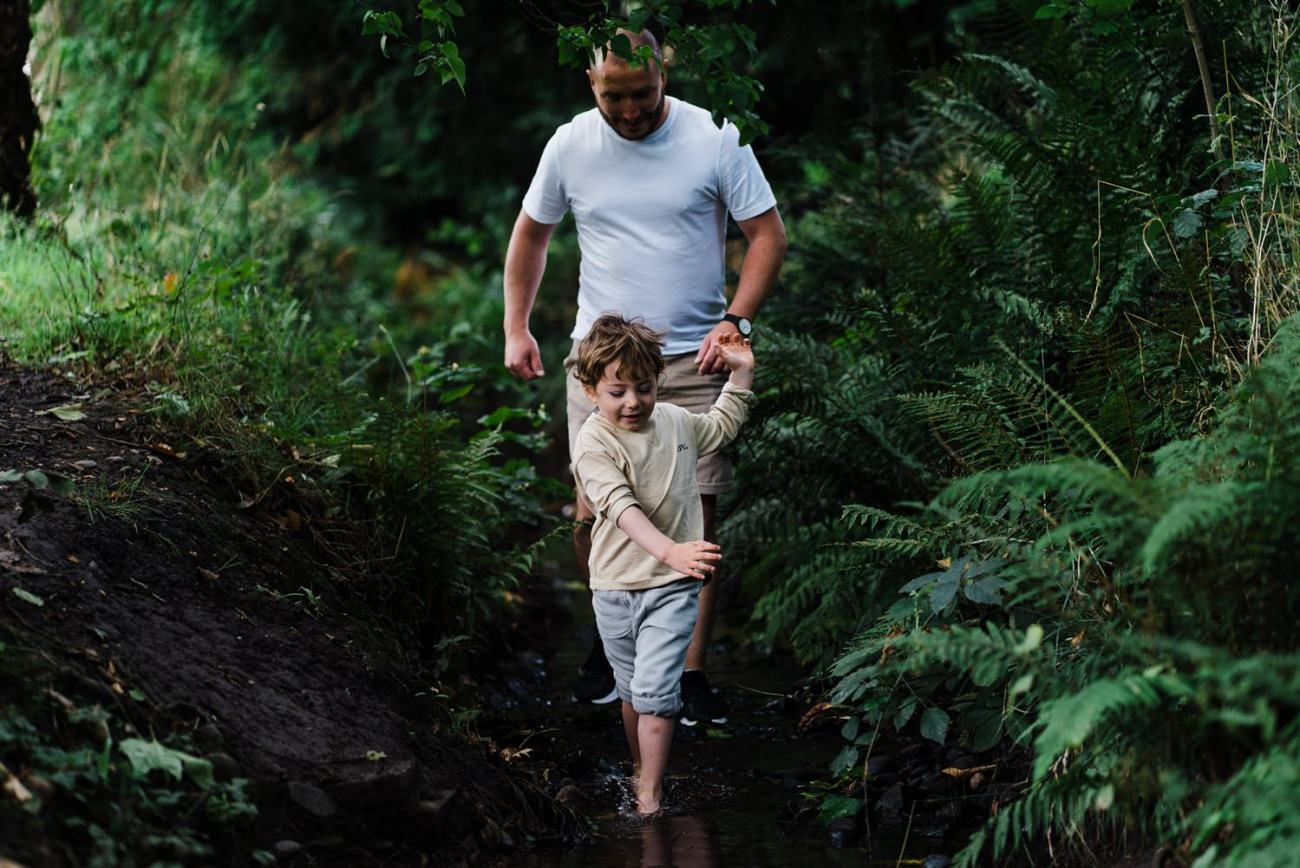 Paddling in the stream Cotteridge Park