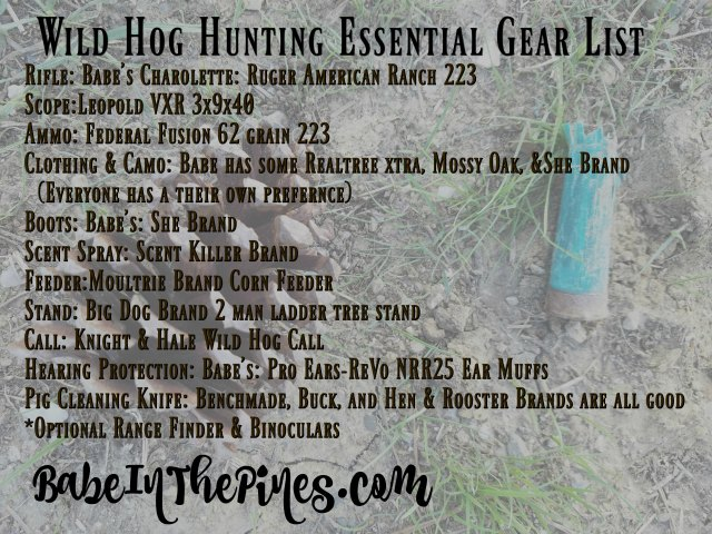 Babeinthepines.com Wild Hog Essential Gear List