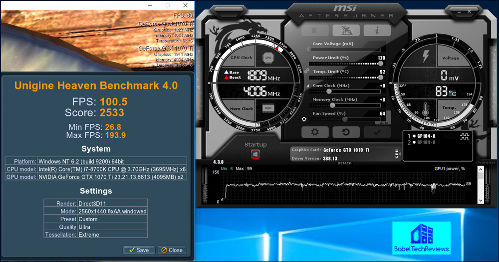 The aftermarket Gigabyte GTX 1070 Ti Gaming OC 8G card runs generally below  60C as the bottom card, and as a result the locked-on Boost core clock is  ...