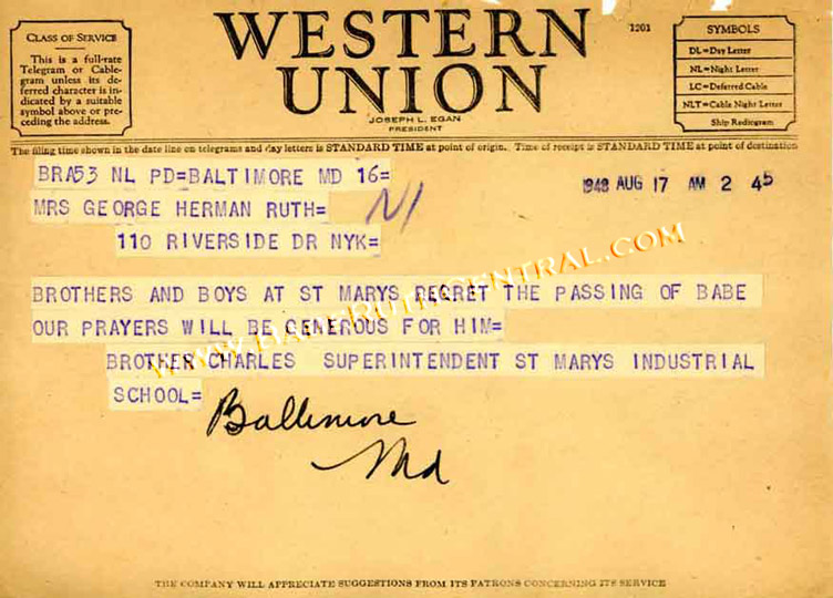 Western Union Telegrams Babe Ruth Babe Ruth Central
