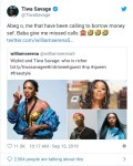 Tiwa Savage replies a fan after asking if she is richer than Wizkid