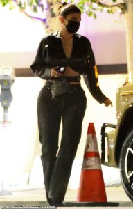 Kylie Jenner in leather for a night out with friends