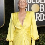 Jamie Lee Curtis stuns in Plunging yellow dress at the Golden Globes