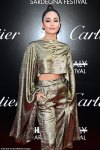 Vanessa Hudgens looked cute in a gold-metallic outfit