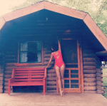 Omowummi Akinnifesi Show Off Her Physique In A Red Swimsuit