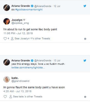 Ariana Grande promotes new album in purple body paint