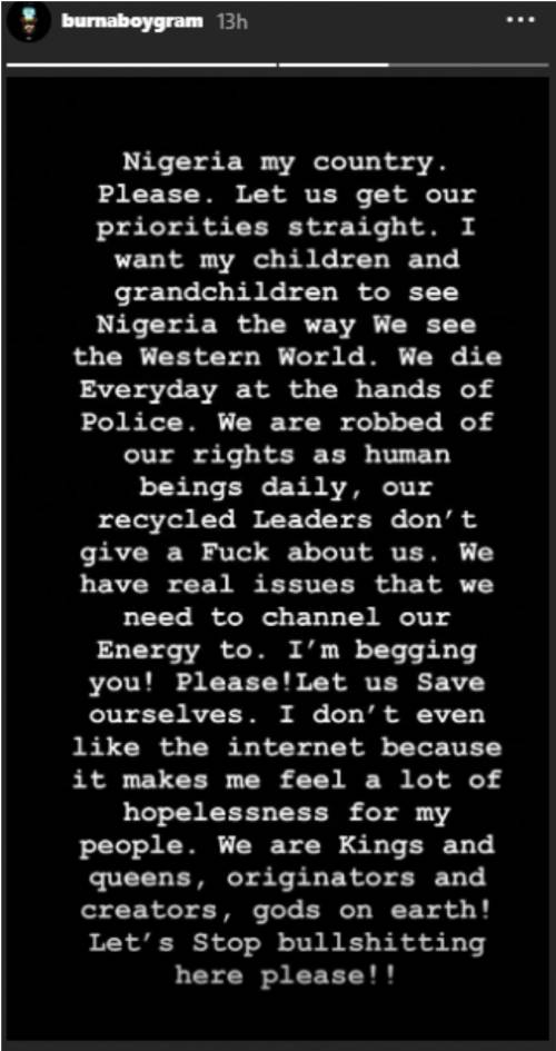 Burna Boy's message to Nigerians