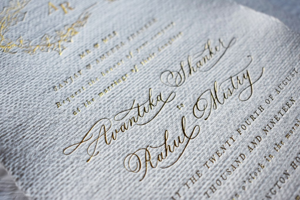 Tresor Suite Wedding Collection Babooche Calligraphy